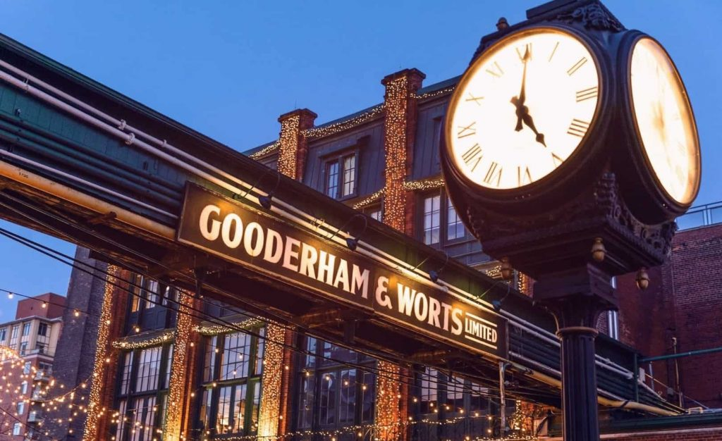 A clock on the background of the Gooderham and Worts Limited sign and a tall building decorated with glowing balls